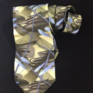 J Garcia Mens 100% Silk Tie Green Blue Duck Worm